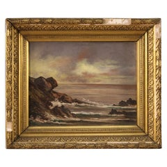 20th Century Oil on Canvas French Seascape with Cliff Signed Painting, 1920