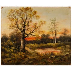 20th Century Oil on Canvas French Signed Impressionist Style Landscape Painting