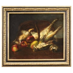 20th Century Oil on Canvas French Still Life with Game Painting, 1950