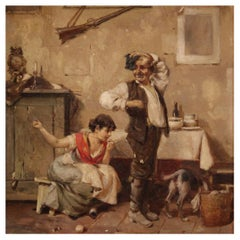 """20th Century Oil on Canvas German Painting Interior Scene """"The Mending"""", 1920"""