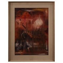 20th Century Oil on Canvas Italian Abstract Signed Painting, 1970