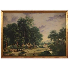 20th Century Oil on Canvas Italian Countryside Landscape Painting, 1950