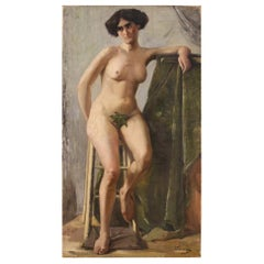 20th Century Oil on Canvas Italian Impressionist Signed Female Nude Painting