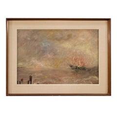 20th Century Oil on Canvas Italian Impressionist Style Seascape Painting, 1960