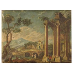 20th Century Oil on Canvas Italian Landscape Painting Architectural Whim, 1930