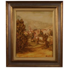 20th Century Oil on Canvas Italian Landscape Signed Painting, 1977