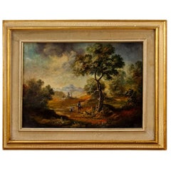 20th Century Oil on Canvas Italian Landscape with Characters Painting, 1960