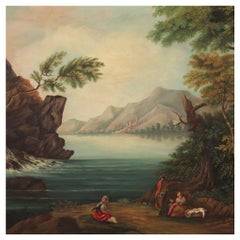 20th Century Oil on Canvas Italian Lanscape Painting View of the Lake, 1960