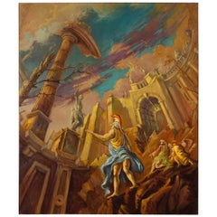 20th Century Oil on Canvas Italian Mythological Painting with Warriors and Ruins