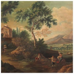 20th Century Oil on Canvas Italian Painting Bucolic Landscape, 1960