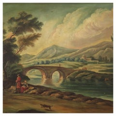 20th Century Oil on Canvas Italian Painting Countryside Landscape, 1960
