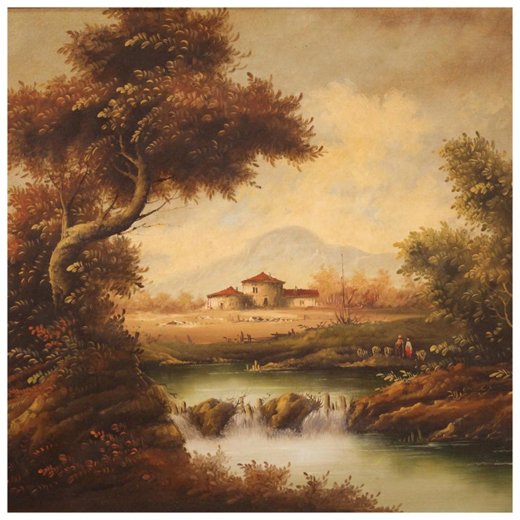 20th Century Oil on Canvas Italian Painting Countryside Landscape, 1980
