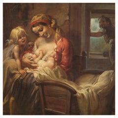 20th Century Oil on Canvas Italian Painting Interior Scene Mother Children, 1930