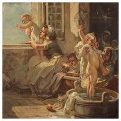 20th Century Oil on Canvas Italian Painting Interior Scene with Children, 1930