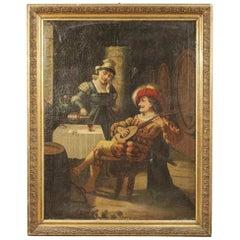 20th Century Oil on Canvas Italian Painting Interior Scene with Musician, 1920