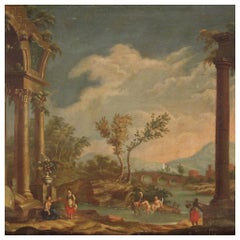20th Century Oil on Canvas Italian Painting Landscape 18th-Century Style, 1930