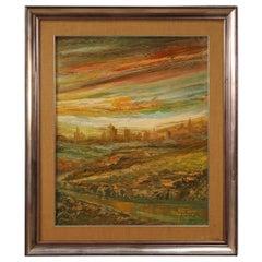 20th Century Oil on Canvas Italian Painting Landscape Sunset on Fire, 1975