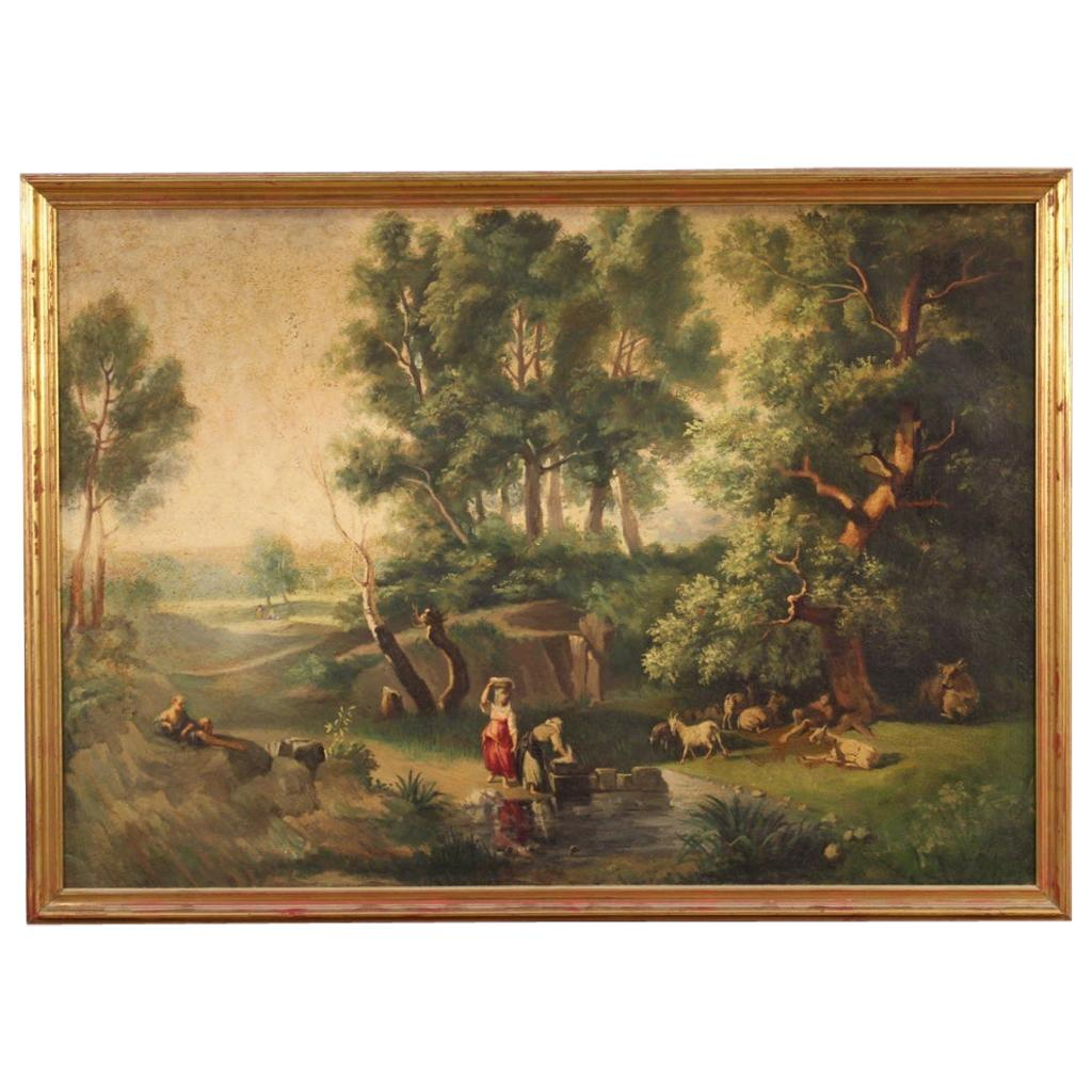 20th Century Oil on Canvas Italian Painting Landscape with Characters, 1950