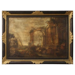 20th Century Oil on Canvas Italian Painting Landscape with Characters and Ruins