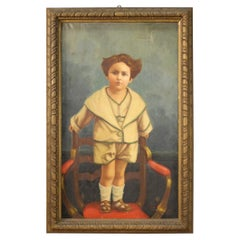 20th Century Oil on Canvas Italian Painting Portrait of a Child, 1921