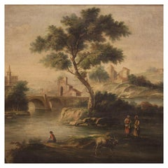 20th Century Oil on Canvas Italian Painting River Landscape, 1950