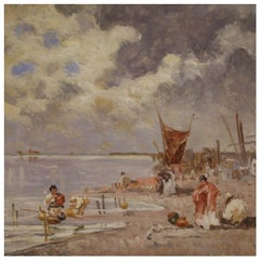 20th Century Oil on Canvas Italian Painting Seascape, Fishermen and Boats, 1950