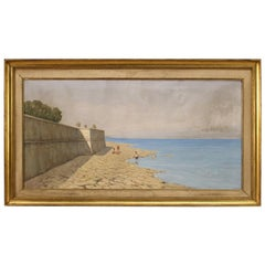 20th Century Oil on Canvas Italian Painting Seascape with Walls, 1930