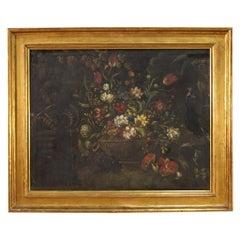 20th Century Oil on Canvas Italian Painting Still Life Vase with Flowers, 1930