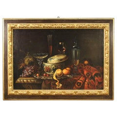 20th Century Oil on Canvas Italian Painting Still Life with Fruits, 1970