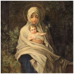 20th Century Oil on Canvas Italian Religious Painting Virgin with Child, 1920