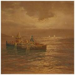 20th Century Oil on Canvas Italian Seascape Painting, 1960