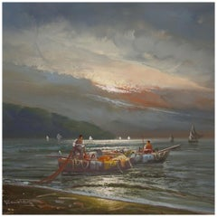 20th Century Oil on Canvas Italian Seascape Painting Fishermen at Sunset, 1960