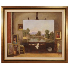 20th Century Oil on Canvas Italian Signed and Dated Painting, 1985