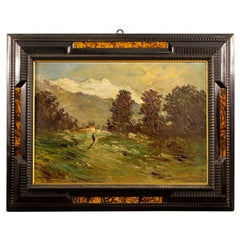 20th Century Oil on Canvas Italian Signed Impressionist Landscape Painting