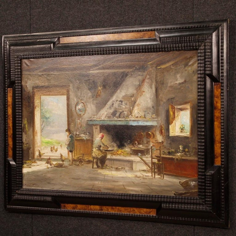 20th Century Oil on Canvas Italian Signed Interior Scene Painting, 1950 For Sale 7