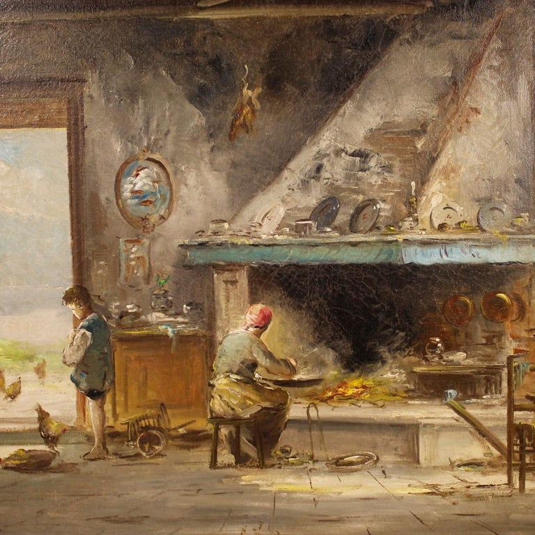 20th Century Oil on Canvas Italian Signed Interior Scene Painting, 1950 For Sale 1