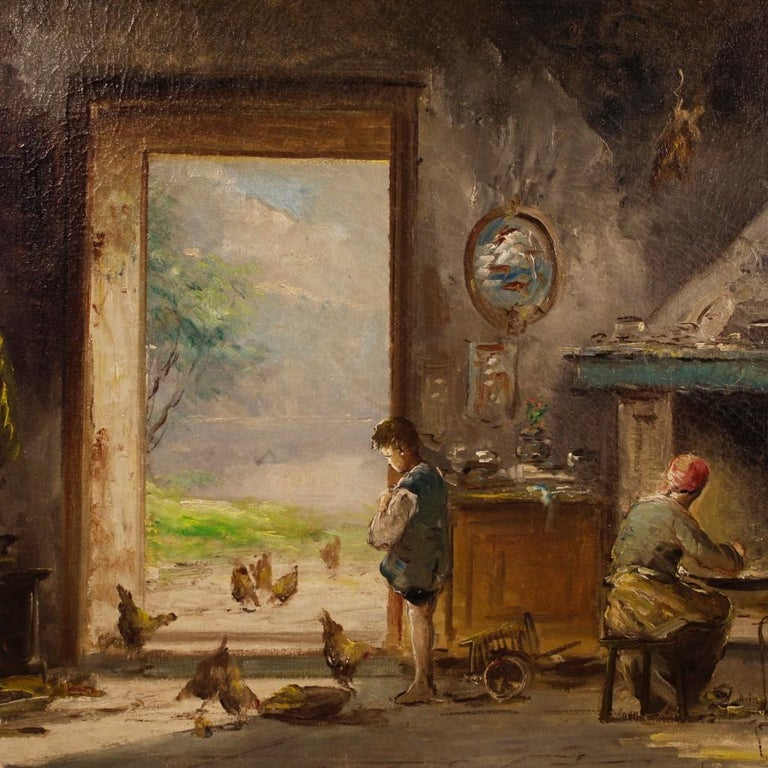 20th Century Oil on Canvas Italian Signed Interior Scene Painting, 1950 For Sale 2