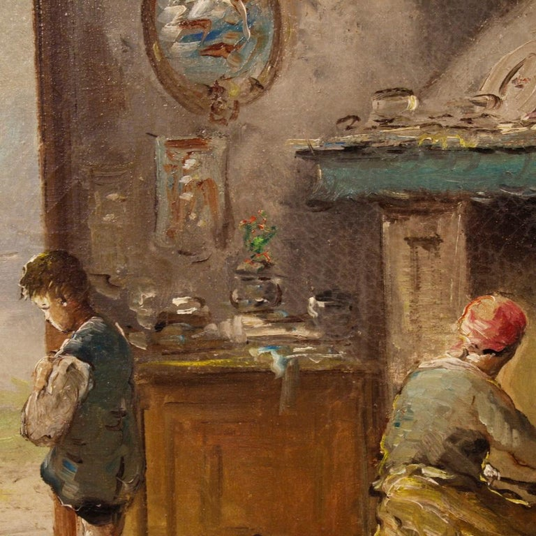 20th Century Oil on Canvas Italian Signed Interior Scene Painting, 1950 For Sale 5