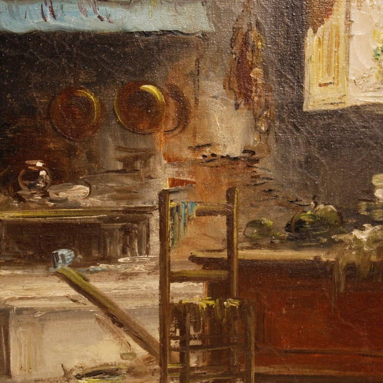 20th Century Oil on Canvas Italian Signed Interior Scene Painting, 1950 For Sale 6