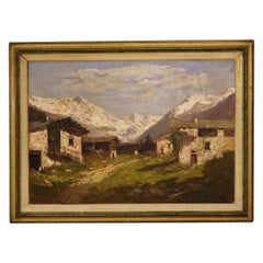 20th Century Oil on Canvas Italian Signed Mountain Landscape Painting, 1930