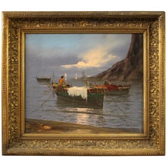 20th Century Oil on Canvas Italian Signed Seascape Painting, 1920