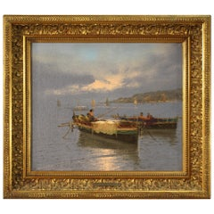 20th Century Oil on Canvas Italian Signed Seascape Painting, 1950