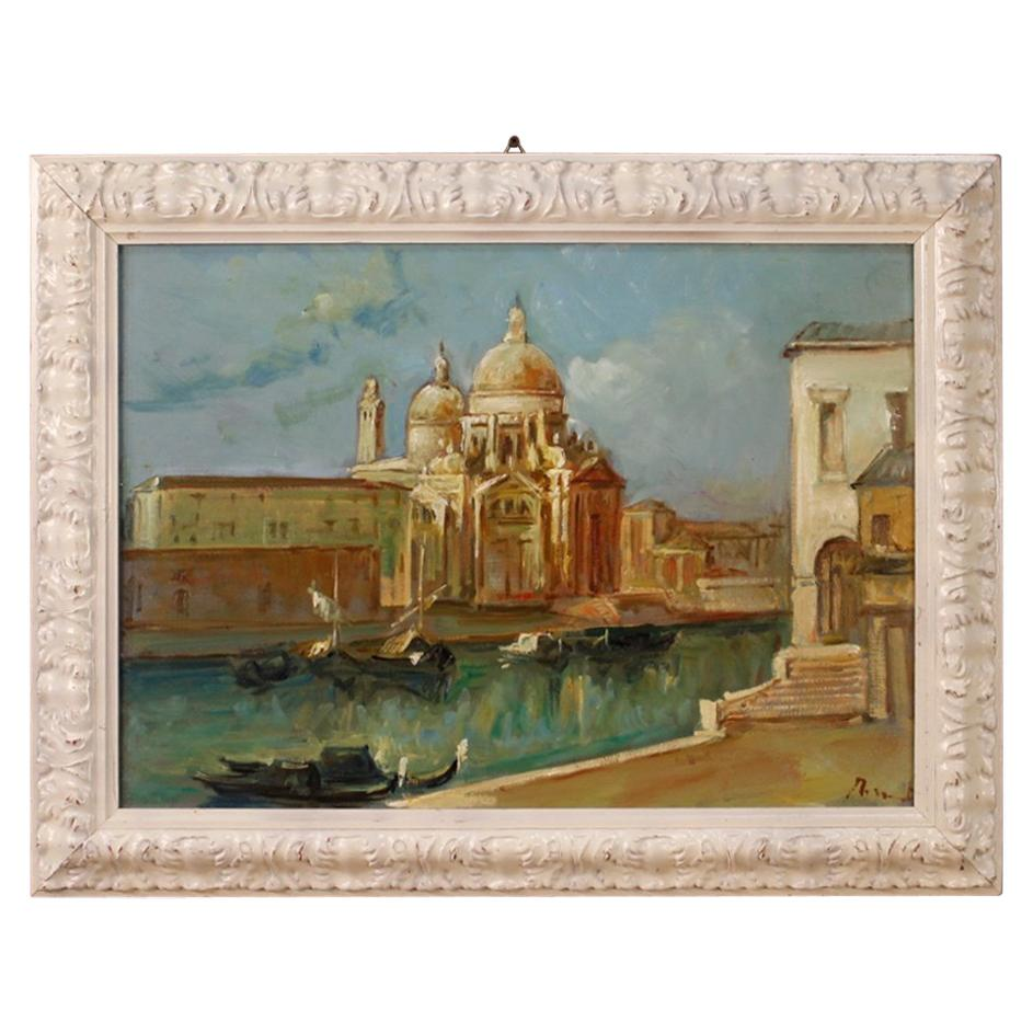 20th Century Oil on Canvas Italian Signed Venice View Painting, 1960