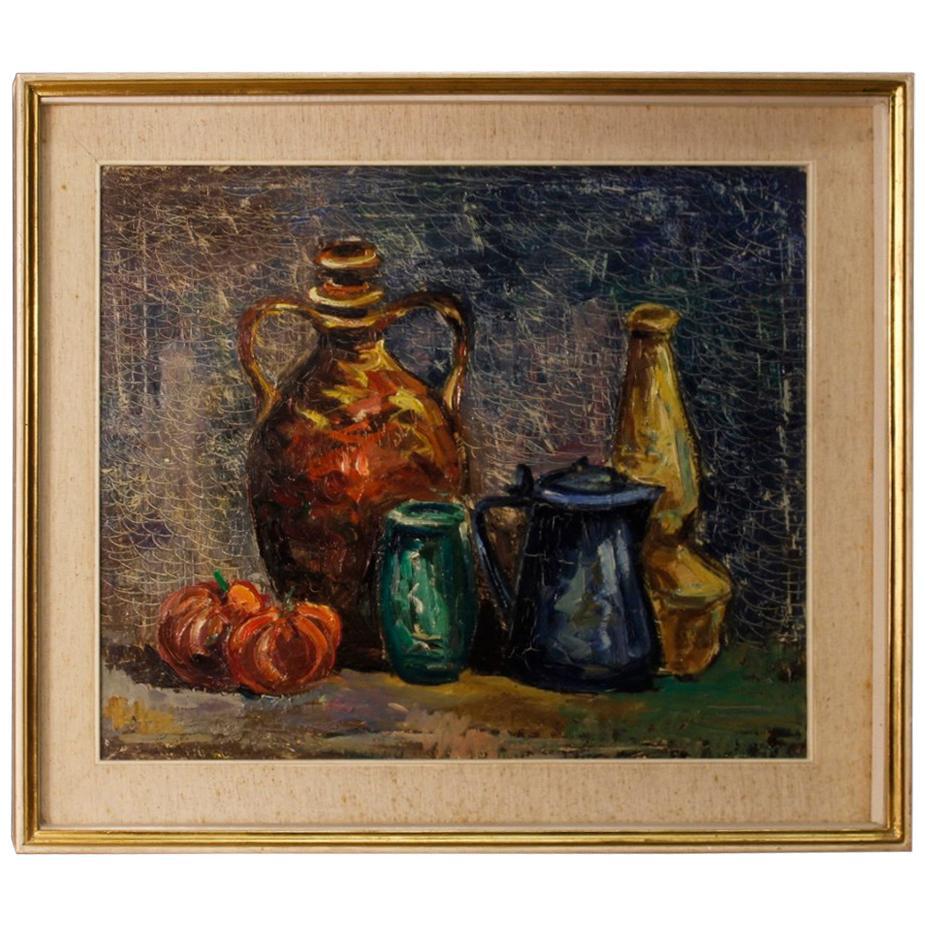 20th Century Oil on Canvas Italian Still Life Impressionist Style Painting, 1970