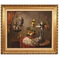 20th Century Oil on Canvas Italian Still Life Painting, 1950