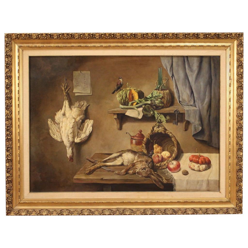20th Century Oil on Canvas Italian Still Life Painting, 1951