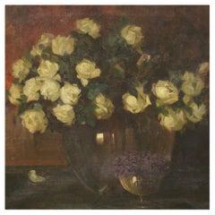 20th Century Oil on Canvas Italian Still Life Painting Vase with Flowers, 1920