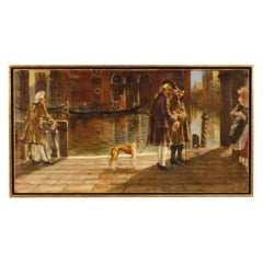 20th Century Oil on Canvas Italian Venetian Canal View with Characters Painting