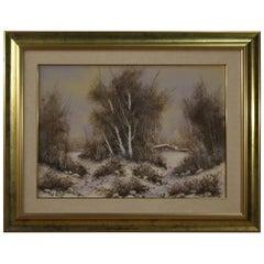 20th Century Oil on Canvas Italian Winter Landscape Painting, 1970
