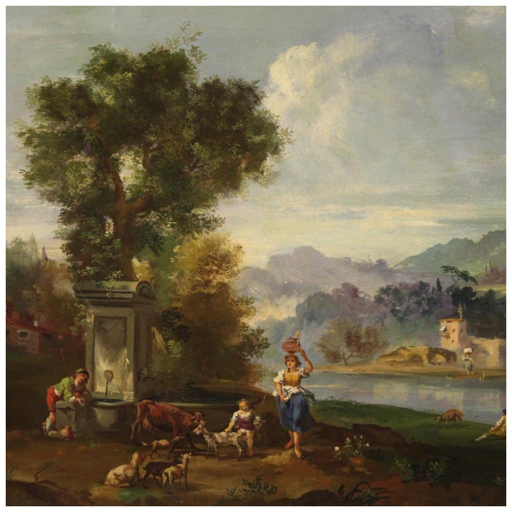 20th Century Oil on Canvas Landscape with Figures Painting, 1950